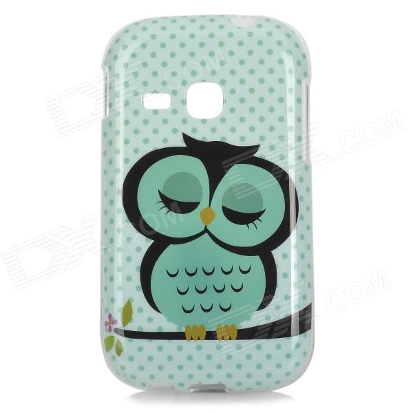 Cute Sleepy Owl Style Protective TPU Back Case for Samsung S6310 - Green