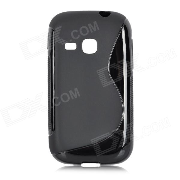 S Style Anti-Slip Protective TPU Back Case for Samsung Galaxy Young S6310 - Black 8x zoom telescope lens back case for samsung i9100 black