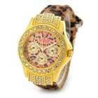 A688 Fashion Crystal Round Dial Leopard Band Wrist Watch for Women - White + Golden + Multi-Colored