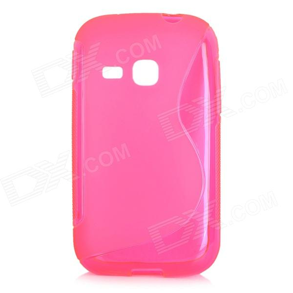 S Style Anti-Slip Protective TPU Back Case for Samsung Galaxy Young S6310 - Deep Pink s style protective tpu back case for htc 8s translucent deep pink