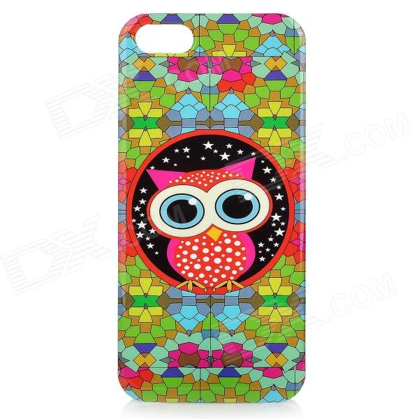 Cute Owl Style Protective Plastic Back Case for IPHONE 5 / 5S - Green + Red + Blue water drops style protective plastic back case for iphone 4 blue