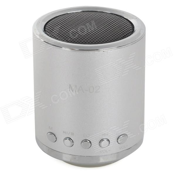 MA-02 Mini MP3 Speaker w/ TF / U-flash / FM - Silver