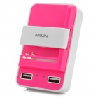 ARUN W200 3-in-1 Smart Dual USB Universal Charger - White + Deep Pink (US Plug)