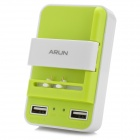 ARUN W200 3-in-1 Smart Dual USB Universal Charger - White + Light Green (US Plug)