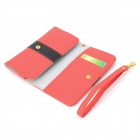 "Universal Protective PU Leather Case Cover w/ Card Slots for Cellphones within 4.7"" - Red"