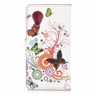 IKKI Butterfly & Flower Style PU Leather Case w/ Card Holder Slots for LG Nexus 5 - White + Black
