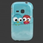 Cute Cartoon Birds Style Protective TPU Back Case for Samsung S6310 - Sky Blue