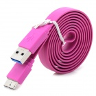 Micro USB 3.0 9pin Charging / Data Flat Cable for Samsung Note 3 - Purple (100cm)