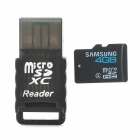 Samsung Micro SD / TF 4GB Class 4 Card + Card Reader Set - Black (4GB)