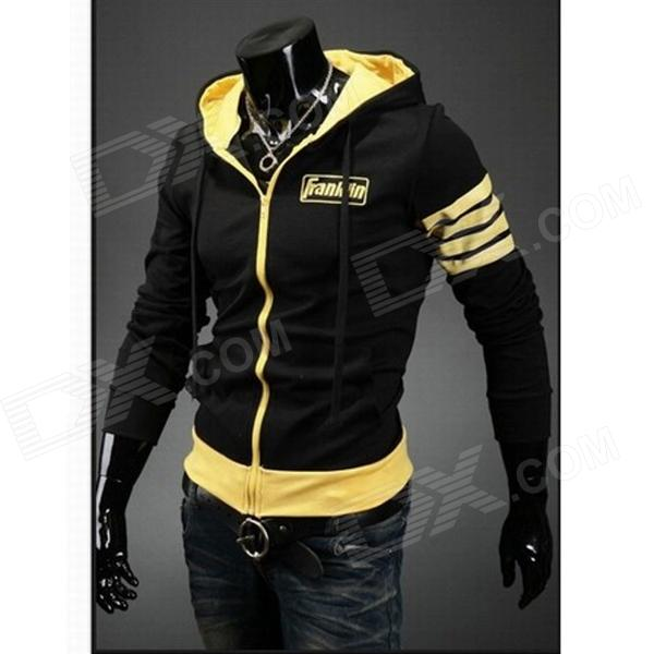 Spring Design Popular Men's Hooded Fleece - Black + Yellow (Size-XL)