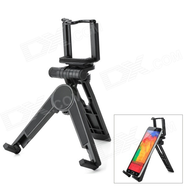 Universal ABS Stand Holder Support for Tablet PC / Cell Phone / Digital Camera - Black universal swivel tripod stand holder for cell phone camera black