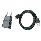 Dual USB AC Power Charger Adapter Micro USB 3.0 -Pin Cable for Samsung Galaxy Note 3 - Black