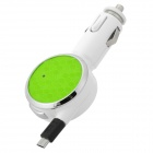 S-What 12V Car Charger w/ Micro USB Retractable Cable - White + Green