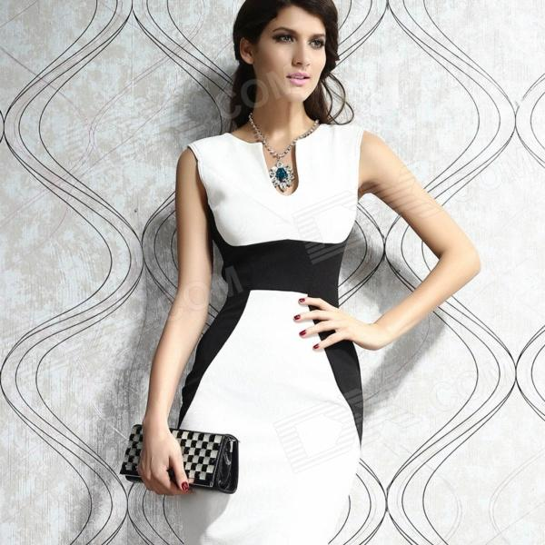 LC6165-1 Contrast Panel Midi Bodycon Dress - White (Free Size)