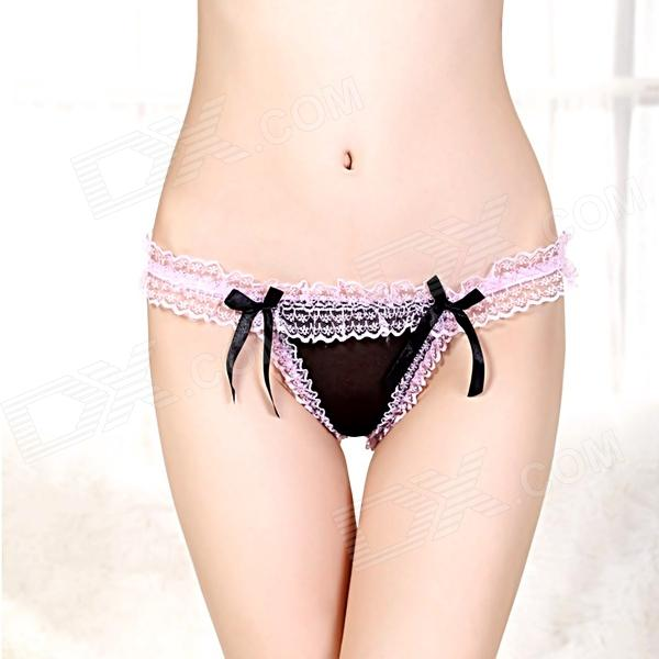 Nye stil Women Open Skritts Hollow-out Lace Undertøy m / bowknot - Pink + Svart