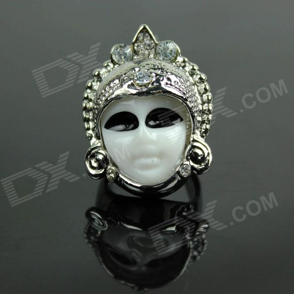 Ceramics Thailand Doll Ring - Silver + Black