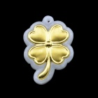 Four Leaf Clover Style Gold-Inlaid-With-Jade Pendant - Golden + Translucent White