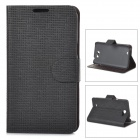 Flower Show PU Flip-Open Case w/ Stand / Card Slots for Samsung Galaxy Note 2 - Black