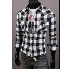 C56 Fashionable Large Lattice Leisure Men's Long Sleeve Shirt - White + Black (Size-L)