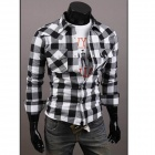 C56 Fashionable Large Lattice Leisure Men's Long Sleeve Shirt - White + Black (Size-XXL)