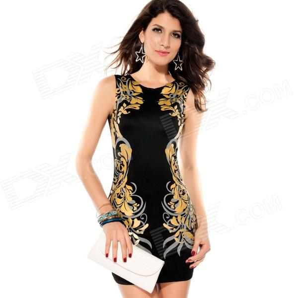 LC2833L Stretchy Foil Printing Bodycon Dress - Black (Size-L) learning carpets us map carpet lc 201