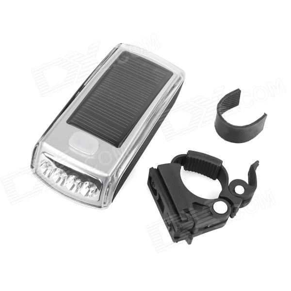 XINGCHENG XC-990 Solar Energy USB 2.0 Rechargeable 4-LED White Bicycle Head Light - Silver (2 x AA) solar energy usb rechargeable 2 in 1 bicycle safety warning lamp cycling bike led front light waterproof headlight black white