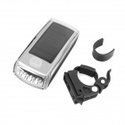 XINGCHENG XC-990 Solar Energy USB 2.0 Rechargeable 4-LED White Bicycle Head Light - Silver (2 x AA)