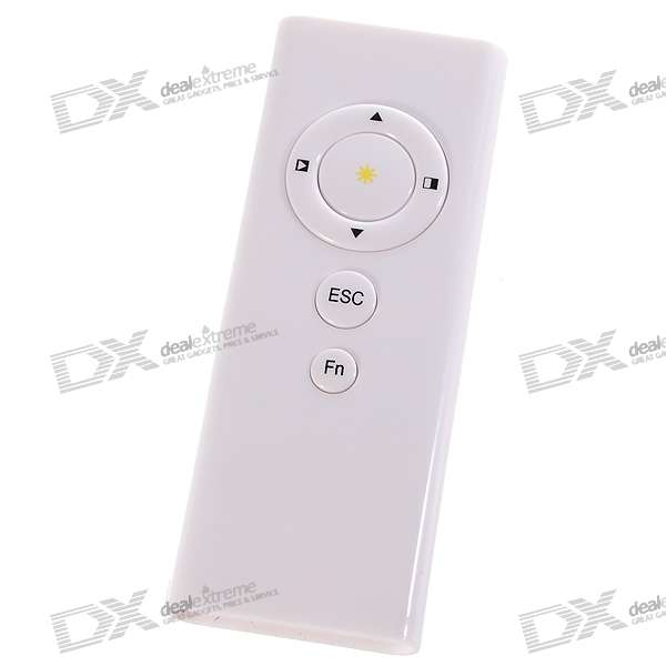 USB RF Wireless Presenter with Laser Pointer and Remote Mouse - White (1*CR2032)