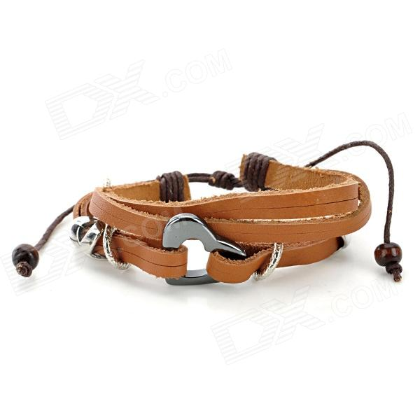 UBE UTY 2021 Wood Bead Cow Leather Winding Bracelet - Coffee + Brown + Multi-Colored fashion cupid ornament split leather bracelet coffee brown multi color