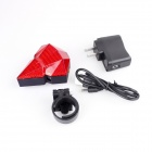 HJ RIDING HJ-022 Diamond Style Wireless LED 3-Mode Red Laser Taillight - Red (1 x 14500)