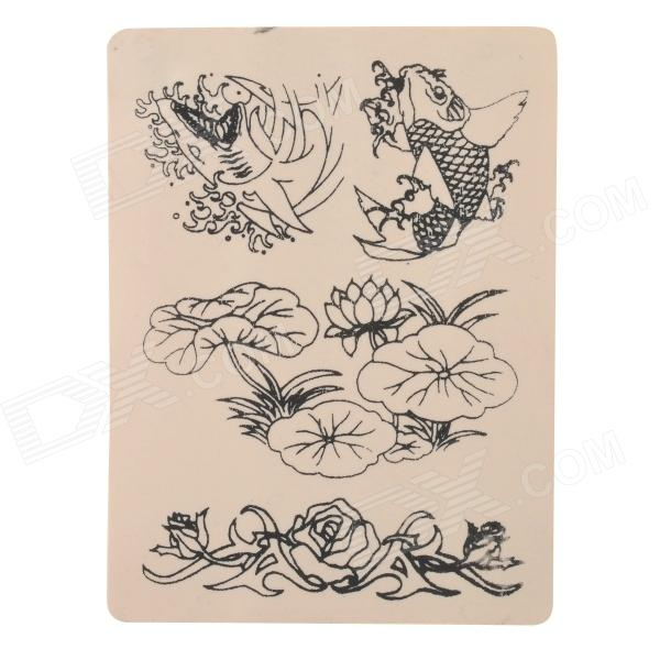 JUQI Carp Lotus Pattern Tattoo Practice Skin Sheet - White + Light Yellow
