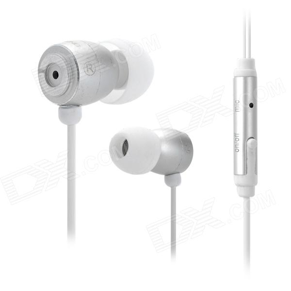 OVLENG IP660 Universal In-Ear Style Earphone w/ Microphone for Cell Phone - White + Silver (130 cm)