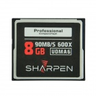SHARPEN High Speed UDMA 600X 90Mb/S CF Compact Flash Memory Card - Black (8GB)