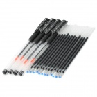 Plastic 0.5mm 4-Pen w/ Replacement Black Ink 12-Refill - Black (4PCS)