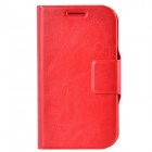 Dikuka PU Leather Case Cover Stand w/ Strap / Card Slot for Samsung Galaxy Win i8552 - Red