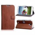 Wood Pattern Protective PU Leather Case Cover Stand for Samsung Galaxy S4 i9500 - Coffee