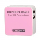 EP-530 15W 5V 3A Dual USB AC Power Charger Adapter - Light Pink + White (US Plug / AC 100~240V)