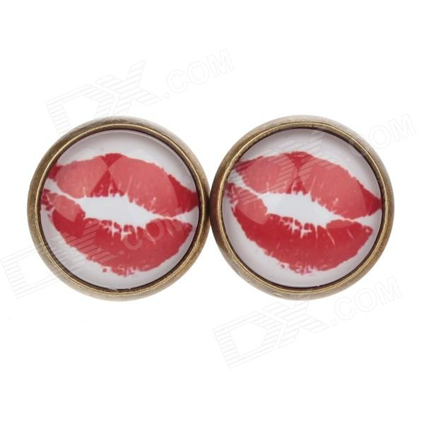 Vermilion Border Pattern Ancient Palace Bronze Ear Studs - White + Red (1 Pairs)