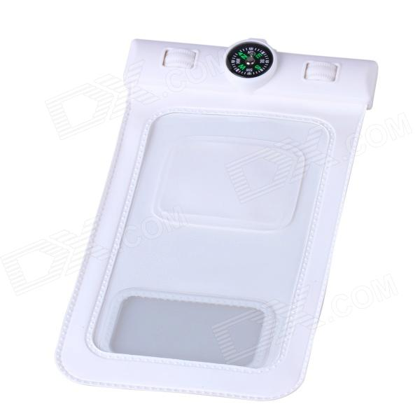 Professional PVC Waterproof Bag w/ Compass for Samsung Galaxy S4 i9500 - White