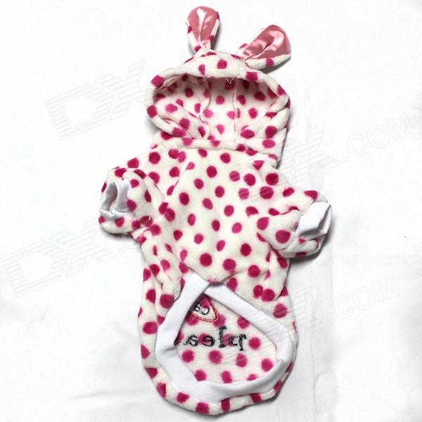 Polka Dot Easter Rabbit Style Pet Clothes - Deep Pink + White (Size-L)