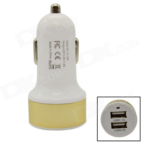 DC501 dobbel-USB Car sigarettenner Power Adapter-Hvit + gylne (12 ~ 18V)