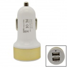 DC501 Dual-USB Car Cigarette Lighter Power Adapter - White + Golden (12~18V)
