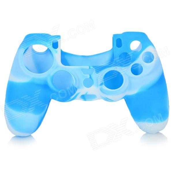Anti-Slip Protective Silicone Case Cover for PS4 - Blue + White protective silicone case for nds lite translucent white