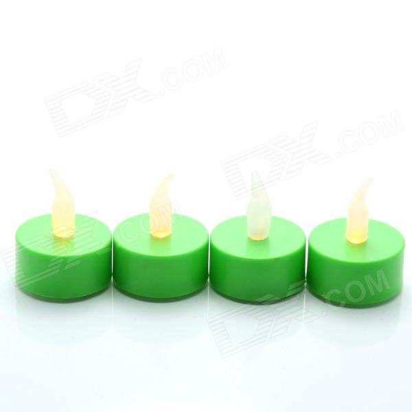 PZCD MY-03 Tine Style Flame Twinkle LED Green Candle with Yellow Light - (4 PCS / 4 x CR2032)
