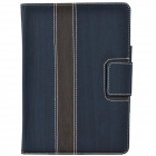 Wood Grain Protective PU Leather Case Cover Stand w/ Card Slot for IPAD AIR - Deep Blue + Gray
