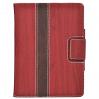 Wood Grain Protective PU Leather Case Cover Stand w/ Card Slot for IPAD AIR - Red + Brown