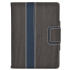 Wood Grain Protective PU Leather Case Cover Stand w/ Card Slot for IPAD AIR - Grey
