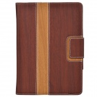 Wood Grain Protective PU Leather Case Cover Stand w/ Card Slot for IPAD AIR - Brown + Yellow
