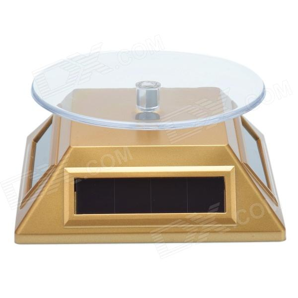 Solar Power 360 Degree Rotatable Display Stand Tray w/ LED Light - Golden