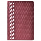 Stylish Plaid Pattern PU Leather + Plastic Case for IPAD MINI 1 / 2 - Wine Red + White